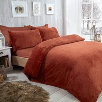 Waffle Fleece Duvet Cover and Pillowcase Set - Rust / Single