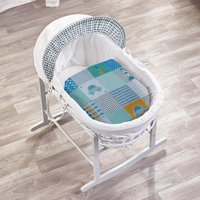 Patchwork Cars White Wicker Moses Basket with White Rocking Stand