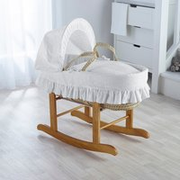 Broderie Anglaise White Moses Basket with Natural Little Gem Rocking Stand