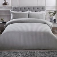 Luxury Satin Stripe Duvet Cover and Pillowcase Set - Silver / Double