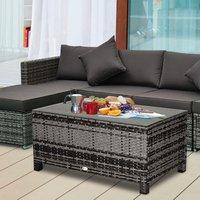 Rattan Garden Furniture Coffee Table  - Mixed Grey