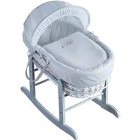 Sleepy Little Owl White Wicker Moses Basket with Rocking Stand