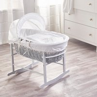 White Teddy Wash Day Grey Wicker Moses Basket with Grey Rocking Stand