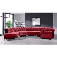 Lynda Chesterfield Large Sofa Velour Fabric with Fabric Buttons - Red