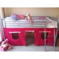 'Kosy Koala Metal Mid Sleeper Cabin Bed With Pink Tent