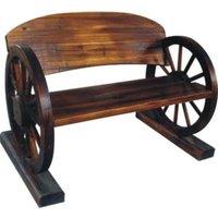Wagon Wheel Bench - Brown