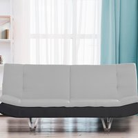 Grey Fabric Sofa Bed 3 Seater With Faux Leather
