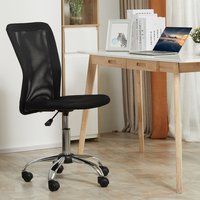 Armless Office Chair with Mesh Back and 5 Wheels - Black