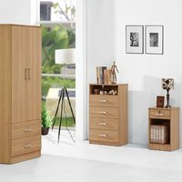 Oak Finish 3 Piece Bedroom Set - Wardrobe Chest and Bedside