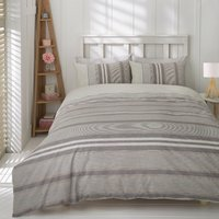 Marlow Stripe Duvet Cover and Pillowcase Set - Silver / Super King