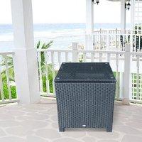 Outsunny Rattan Garden Furniture Side Table - Black