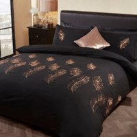 Feather Embroidered Black and Gold Duvet Cover and Pillowcase Set - Black / Double