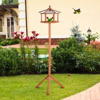 Wooden Bird Feeder Table with Stand - Natural