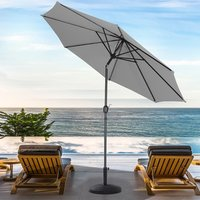 3M Length Patio Umbrella with Base - Light Grey