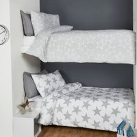 Pack of Two Stars Duvet Cover and Pillowcase Sets - Grey / Single