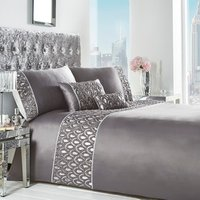 Crystal Charcoal Duvet Cover and Pillowcase Set - Charcoal / Double