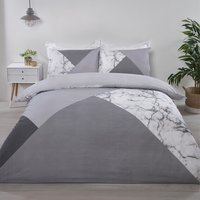 Marble Geo Duvet Cover and Pillowcase Set - Grey / King