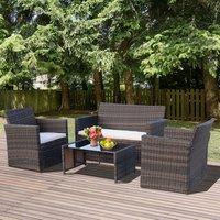4 Piece Rattan Garden Sofa Set - Brown