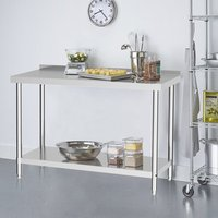 Kitchen Prep Work Table with Backsplash - Silver / 180cm