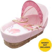Pink Elephant Moses Basket Bedding Set Dressings - Pink