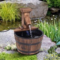 Wood Barrel Patio Water Fountain - Carbonised Wood Colour