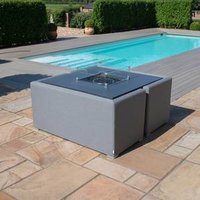 Maze Rattan Fuzion Sofa Cube Set With Fire Pit - Flanelle Grey