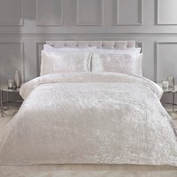 Prince Crushed Velvet Duvet Cover and Pillowcase Set - Ivory / Double