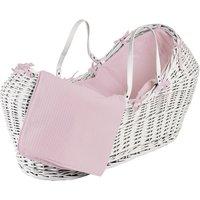 Pink Waffle White Pod Moses Basket - Pink