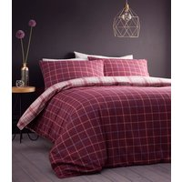Iona Duvet Cover and Pillowcase Set - Plum / Double