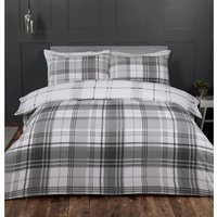 Hamilton Grey Check Duvet Cover and Pillowcase Set - Grey / Single