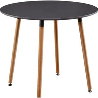 Dark Grey Round Wood Dining Table