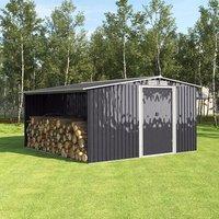 Metal Garden Shed Outdoor Storage - Black / 260cm