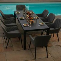 Maze Rattan Zest Eight Seater Rectangular Dine Set With Fire Pit - Flanelle