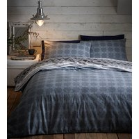 Flannelette Prague Duvet Cover and Pillowcase Set - Grey/Charcoal / Double