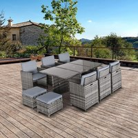 11pc Rattan Garden Furniture Set  - Grey
