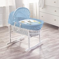 Tiny Ted Blue White Wicker Moses Basket with White Rocking Stand