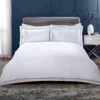 Oxford Stitch Trim 200 Thread Count Duvet Cover and Pillowcase Set - Navy / Super King