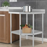 Kitchen Corner Unit Work Table with Backsplash  - Silver