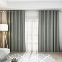 Pair Blackout Curtains with Eyelet Ring Top Grey - Grey / 168cm / 183cm