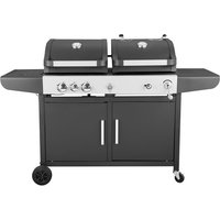 Large Dual Fuel Gas and Charcoal BBQ Grill - Black
