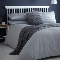 Seersucker Duvet Cover and Pillowcase Set - Grey / Single