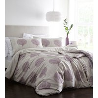 Coppice Duvet Cover and Pillowcase Set - Cream/Mulberry / Super King