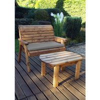 Charles Taylor Deluxe Two Seater Bench Set with Seat Cushion - Redwood/Grey