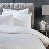 300 Thread Count Sateen Stripe Duvet Cover and Pillowcase Set - White / King