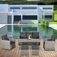 Patio PE Rattan Sofa Furniture Set - Grey