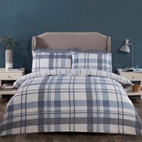 Hampstead Check Duvet Cover and Pillowcase Set - Blue / Double