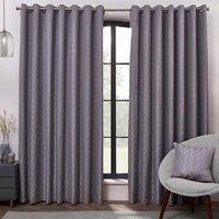 Alessia Crosshatch Eyelet Curtains - Grey / 137cm / 168cm