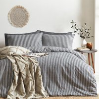 Striped Brushed Cotton Duvet Cover Set - Grey / King