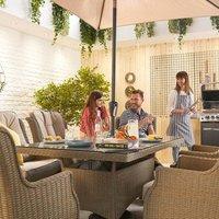 Nova Thalia Six Seater Rectangular Dining Set - Willow