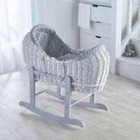 Grey Dimple White Pod Moses Basket with Grey Little Gem Rocking Stand  - Grey